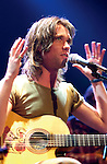 "Dreamworks records recording artist Rufus Wainwright sings at the Bowery Ballroom October 26, 2001 in New York.  He sang selections from his latest cd ""Poses."" (Photo by Lawrence Lucier)"