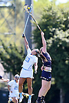 03 April 2016: North Carolina's Sammy Jo Tracy (13) and Notre Dame's Barbara Sullivan (right) challenge for a draw. The University of North Carolina Tar Heels hosted the University of Notre Dame Fighting Irish in a 2016 NCAA Division I Women's Lacrosse match. Maryland won the game 14-8.