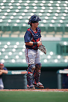 Atlanta Braves catcher Lucas Herbert (2) during an Instructional League game against the Baltimore Orioles on September 25, 2017 at Ed Smith Stadium in Sarasota, Florida.  (Mike Janes/Four Seam Images)