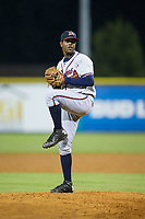 Danville Braves relief pitcher Jesus Heredia (36) in action against the Burlington Royals at Burlington Athletic Stadium on August 14, 2017 in Burlington, North Carolina.  The Royals defeated the Braves 9-8 in 10 innings.  (Brian Westerholt/Four Seam Images)