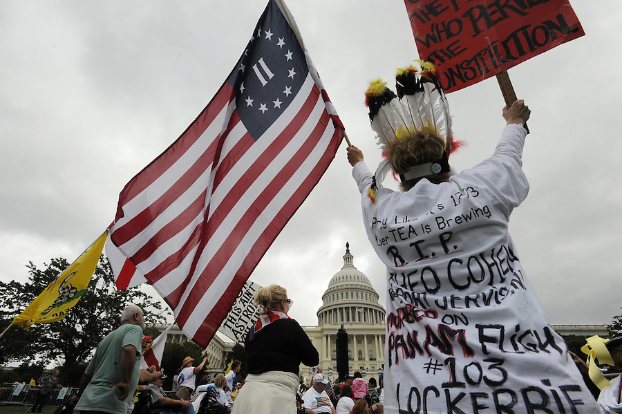 Stacy Jane Case, of NY, cheers with the crowd on Capitol Hill during the Tea Party Protest on Sept. 12, 2009 in Washington, DC.