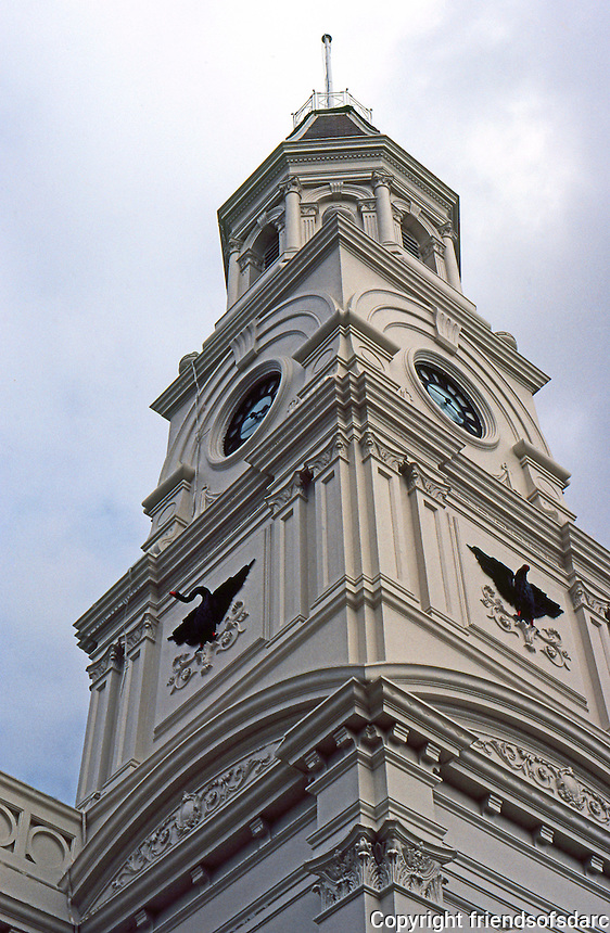 Fremantle: Town Hall--spire. Graninger & D'Ebro of Melbourne. Photo '82.