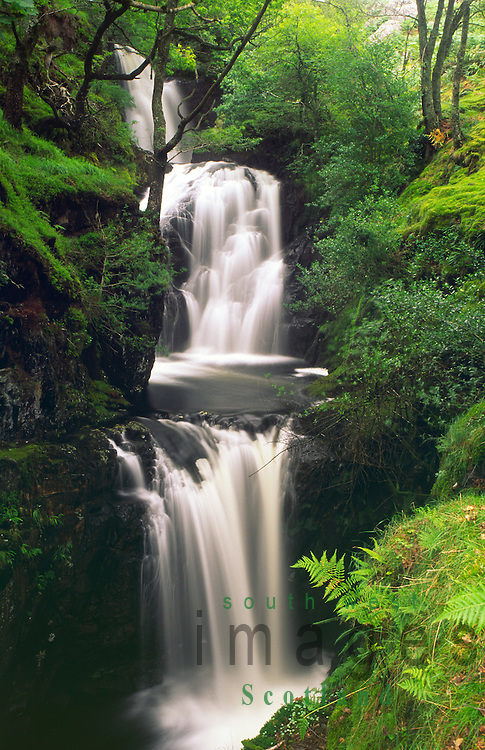 Waterfall on the Buchan Burn in the Galloway Forest Park Scotland UK