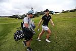 Ameilia Garvey celebrates winning the Autex Muriwai Open, Muriwai Golf Club, Auckland, Sunday 1 May 2016. Photo: Simon Watts/www.bwmedia.co.nz