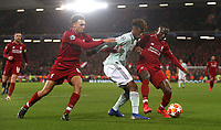 Bayern Munich's Kingsley Coman battles with Liverpool's Trent Alexander-Arnold (left) and Naby Keita<br /> <br /> Photographer Rich Linley/CameraSport<br /> <br /> UEFA Champions League Round of 16 First Leg - Liverpool and Bayern Munich - Tuesday 19th February 2019 - Anfield - Liverpool<br />  <br /> World Copyright © 2018 CameraSport. All rights reserved. 43 Linden Ave. Countesthorpe. Leicester. England. LE8 5PG - Tel: +44 (0) 116 277 4147 - admin@camerasport.com - www.camerasport.com