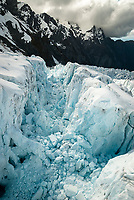 Deep crevasses of Main Icefall on Franz Josef Glacier, Westland Tai Poutini National Park, West Coast, UNESCO World Heritage Area, New Zealand, NZ