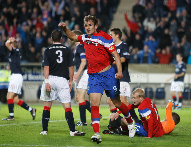 Nikica Jelavic celebrates his equalising goal for Rangers