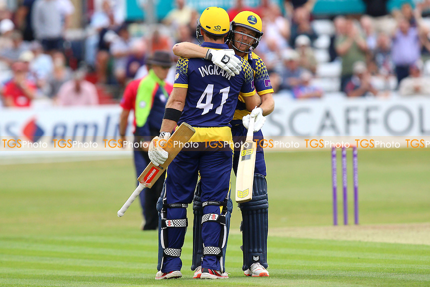 Graham Wagg of Glamorgan (R) congratulates Colin Ingram on his century during Essex Eagles vs Glamorgan, Royal London One-Day Cup Cricket at the Essex County Ground on 26th July 2016