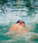 Tennis Club's McKay Chamberlain competes in the 100 yard back race during the 53rd annual Country Club Swimming Championships on Tuesday, Aug. 7, 2012, in Kearns, Utah. (© 2012 Douglas C. Pizac)