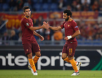 Roma&rsquo;s Mohamed Salah, right, is congratulated by his teammate Diego Perotti after scoring during the Europa League Group E soccer match between Roma and Astra Giurgiu at Rome's Olympic stadium, 29 September 2016. Roma won 4-0.<br /> UPDATE IMAGES PRESS/Isabella Bonotto