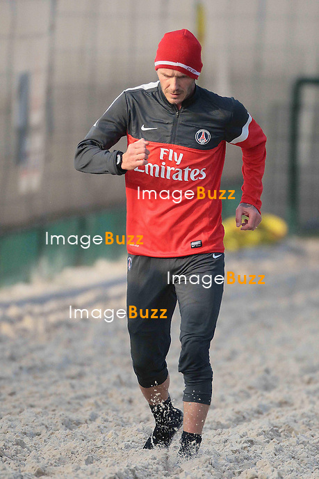 DAVID BECKHAM - David Beckham training for the first time with his new Paris Saint-Germain team-mates..France - Paris, February 13, 2013.