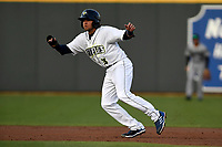 Second baseman Blake Tiberi (3) of the Columbia Fireflies runs the bases in a game against the Augusta GreenJackets on Opening Day, Thursday, April 5, 2018, at Spirit Communications Park in Columbia, South Carolina. Columbia won, 4-2. (Tom Priddy/Four Seam Images)