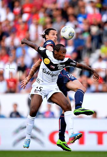 31.08.2013. Paris, France. French League football. Paris St Germain versus Guingamp Aug 31st.  Jeremy Sorbon (gui) - Zlatan Ibrahimovic (psg)