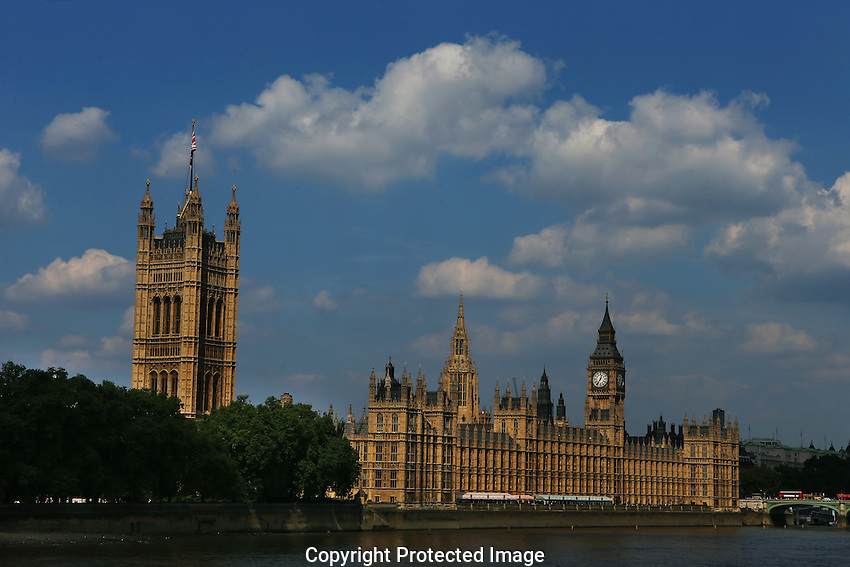 Big Ben and the Houses of Parliament on the river Thames in London .22nd July 2012. (Photo Steve Christo).
