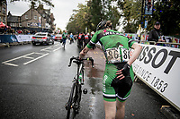Maeve Gallagher (IRE) crossing the finish line after a late crash in the Junior Women road race finish straight made lots of victims and was resposible for lots of (decompression) emotions & injury checkups once behind the line...<br /> <br /> <br /> from Doncaster to Harrogate (86km)<br /> 2019 Road World Championships Yorkshire (GBR)<br /> <br /> ©kramon