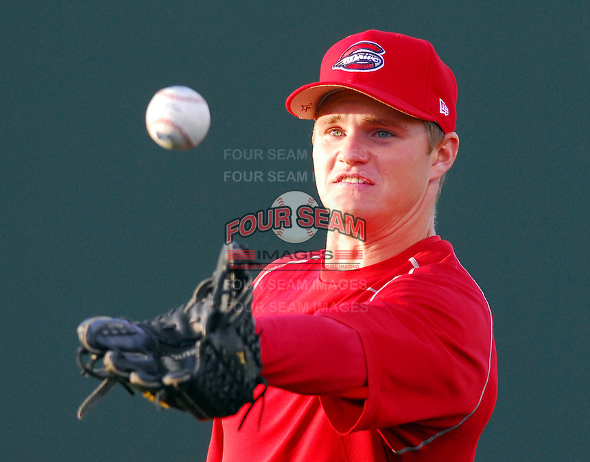 4 April 2007: Jason Place of the Greenville Drive, Class A affiliate of the Boston Red Sox, during a game against the Columbus Catfish.  Photo by:  Tom Priddy/Four Seam Images