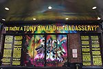 Theatre Marquee - The Ensemble cast of 'Rock Of Ages' backstage at the Helen Hayes Theatre celebrating their 3rd year on Broadway. 4/3/2012
