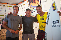 Haleiwa Hawaii,(Sunday November 21, 2010) .The Reef Hawaiian Pro wrapped up today with an emphatic victory by defending Triple Crown Champion Joel Parkinson (AUS). Parkinson had been out of competition for the past six months due to an horrific foot injury suffered in July..Local Haleiwa surfer and defending Reef Hawaiian Pro Champion Joel Centeio (HAW) was 2nd with Julian Wilson (AUS) 3rd and Heath Joske (AUS) in 4th..The third and final heat of the Clash of the Legends was also run today with Sunny Garcia (HAW) coming from behind to take out the clash. Mark Occhilupo (AUS) finished 2nd with early leader Tom Curren (USA) in 3rd and Tom Carroll (AUS) in 4th..Photo: joliphotos.com