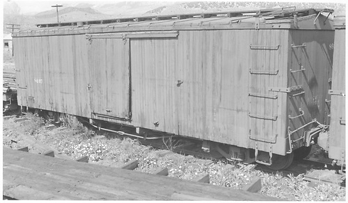RGS Miller box car #8605 (used as outfit car #08605 between 1938 and 1942) in Ridgway yard.<br /> RGS  Ridgway, CO  Taken by Richardson, Robert W. - 5/25/1951