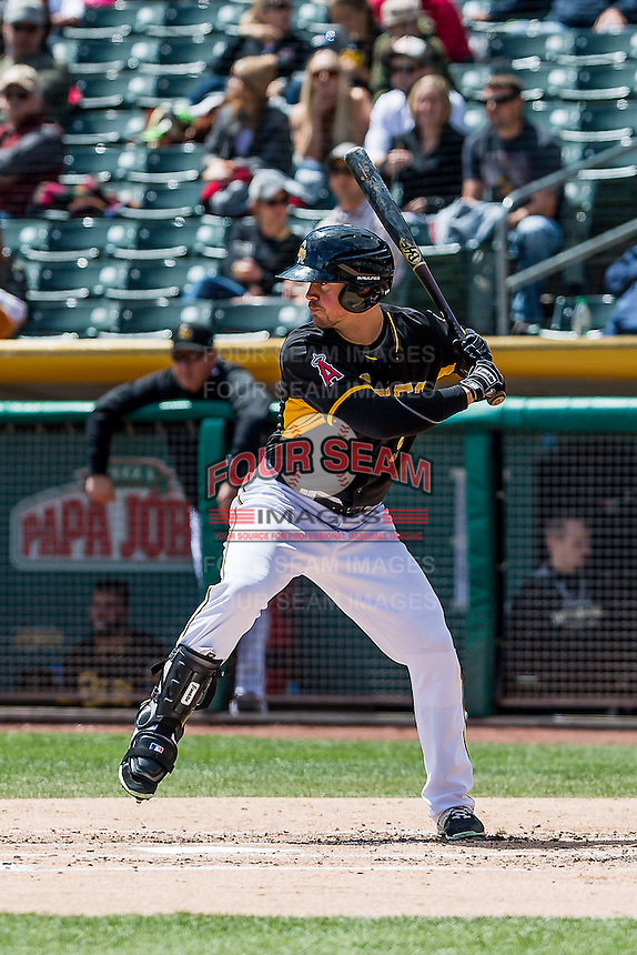 Todd Cunningham (9) of the Salt Lake Bees at bat against the Sacramento River Cats in Pacific Coast League action at Smith's Ballpark on May 01, 2016 in Salt Lake City, Utah. Sacramento defeated Salt Lake 16-6.  (Stephen Smith/Four Seam Images)