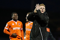 Blackpool's Callum Guy applauds his side's travelling supporters at the end of the match <br /> <br /> Photographer Andrew Kearns/CameraSport<br /> <br /> The EFL Sky Bet League One - Portsmouth v Blackpool - Saturday 12th January 2019 - Fratton Park - Portsmouth<br /> <br /> World Copyright &copy; 2019 CameraSport. All rights reserved. 43 Linden Ave. Countesthorpe. Leicester. England. LE8 5PG - Tel: +44 (0) 116 277 4147 - admin@camerasport.com - www.camerasport.com