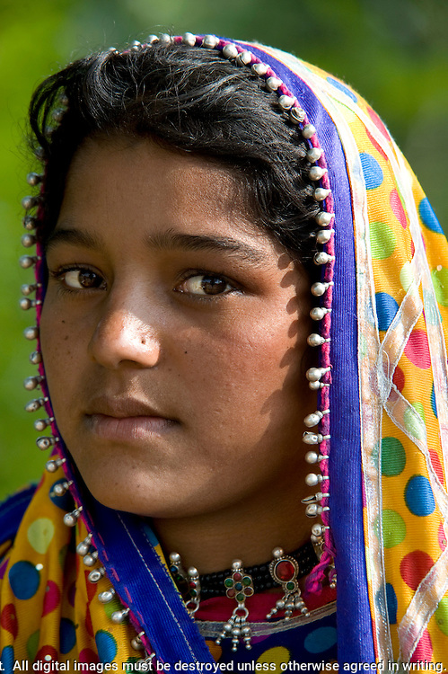MIR nomadic tribe of Gujarat, young girl, wearing traditional jewelry and bright colored clothes with veils over their head, Dasada, Rann of Kutch, Gujarat, India, portrait, colourful, silver jewellery