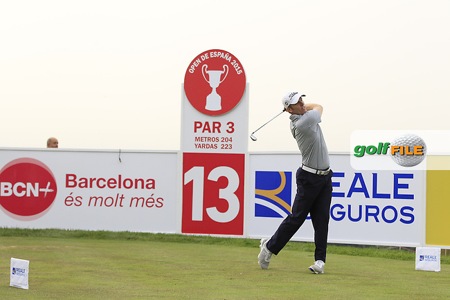 Andrew Dodt (AUS) on the 13th tee during Round 1 of the Open de Espana  in Club de Golf el Prat, Barcelona on Thursday 14th May 2015.<br /> Picture:  Thos Caffrey / www.golffile.ie