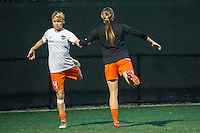 Allston, MA - Wednesday Aug. 31, 2016: Rebecca Moros, Janine Beckie prior to a regular season National Women's Soccer League (NWSL) match between the Boston Breakers and the Houston Dash at Jordan Field.