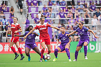 Orlando, FL - Saturday April 22, 2017: Havana Solaun, Ali Kreiger, Monica during a regular season National Women's Soccer League (NWSL) match between the Orlando Pride and the Washington Spirit at Orlando City Stadium.