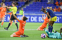 20190703 - LYON , FRANCE : Dutch Merel Van Dongen (left)  pictured celebrating the win while Swedish Madelen Janogy (r) is looking dejected and disappointed after losing during the female soccer game between Netherlands – Oranje Leeuwinnen - and Sweden  , a knock out game in the semi finals of the FIFA Women's  World Championship in France 2019, Wednesday 3 th July 2019 at the Stade de Lyon  Stadium in Lyon  , France .  PHOTO SPORTPIX.BE | DAVID CATRY