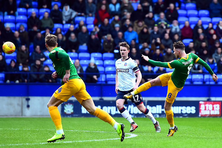 Preston North End's Alan Browne shoots at goal<br /> <br /> Photographer Richard Martin-Roberts/CameraSport<br /> <br /> The EFL Sky Bet Championship - Bolton Wanderers v Preston North End - Saturday 9th February 2019 - University of Bolton Stadium - Bolton<br /> <br /> World Copyright &copy; 2019 CameraSport. All rights reserved. 43 Linden Ave. Countesthorpe. Leicester. England. LE8 5PG - Tel: +44 (0) 116 277 4147 - admin@camerasport.com - www.camerasport.com