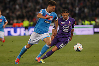 Federico Fernandez   Joacquin Sancez Rodriguez  during the the Italian Cup final soccer match between Napoli and  Fiorentina at the Olympic stadium in Rome May 3, 2014