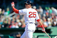 Boston Red Sox outfielder Ryan Sweeney #25 during a Spring Training game against the Miami Marlins at JetBlue Park on March 27, 2013 in Fort Myers, Florida.  Miami defeated Boston 5-1.  (Mike Janes/Four Seam Images)
