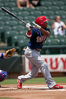 Memphis Redbirds outfielder Adron Chambers #4 swing during the Pacific Coast League baseball game against the Round Rock Express on May 6, 2012 at The Dell Diamond in Round Rock, Texas. The Express defeated the Redbirds 5-1. (Andrew Woolley/Four Seam Images)