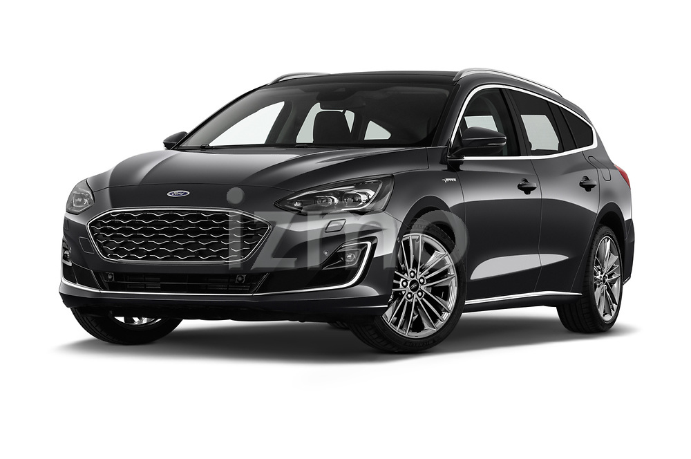 Stock pictures of low aggressive front three quarter view of a 2019 Ford Focus-Clipper Vignale 5 Door Wagon