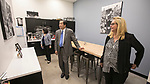 Josephine and A. Gabriel Esteban, Ph.D., president of DePaul University, tour DePaul's classroom facilities Tuesday, Aug. 1, 2017, at the Cinespace Chicago Film Studios with JoAnne Zielinski, associate dean for the College of Computing and Digital Media. (DePaul University/Jamie Moncrief)