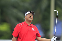 Kiradech Aphibarnrat (Asia) on the 2nd tee during the Singles Matches of the Eurasia Cup at Glenmarie Golf and Country Club on the Sunday 14th January 2018.<br /> Picture:  Thos Caffrey / www.golffile.ie