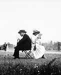 Man and woman at races Auteuil near Paris