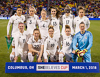 Columbus, Ohio - Thursday March 01, 2018: Germany starting starting eleven vs USWNT  during a 2018 SheBelieves Cup match between the women's national teams of the United States (USA) and Germany (GER) at MAPFRE Stadium.