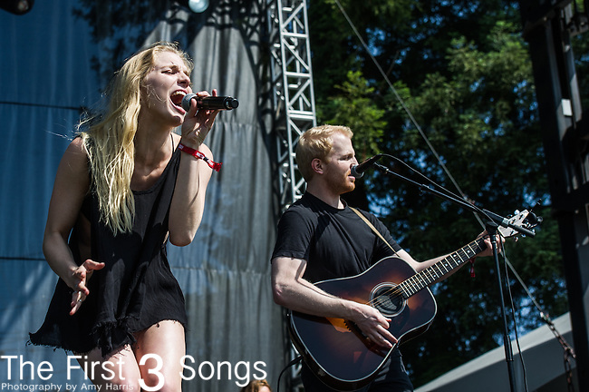 Brittany Holljes of Delta Rae performs at the 2nd Annual BottleRock Napa Festival at Napa Valley Expo in Napa, California.