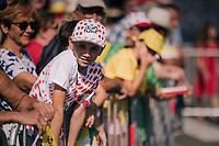 young fan at the race start in Carcasonne<br /> <br /> Stage 16: Carcassonne &gt; Bagn&egrave;res-de-Luchon (218km)<br /> <br /> 105th Tour de France 2018<br /> &copy;kramon