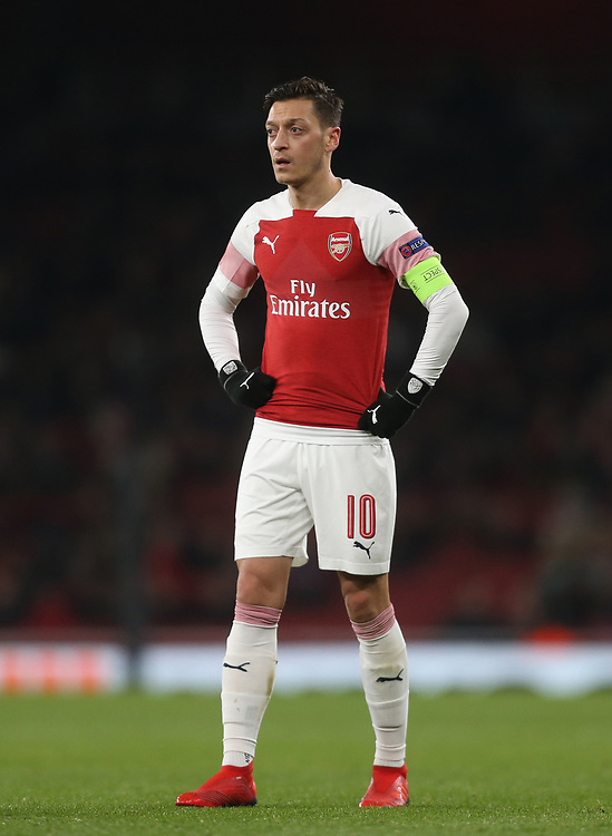 Arsenal's Mesut Ozil<br /> <br /> Photographer Rob Newell/CameraSport<br /> <br /> UEFA Europa League Group E - Arsenal v FK Qarabag - Thursday 13th December 2018 - Emirates Stadium - London<br />  <br /> World Copyright © 2018 CameraSport. All rights reserved. 43 Linden Ave. Countesthorpe. Leicester. England. LE8 5PG - Tel: +44 (0) 116 277 4147 - admin@camerasport.com - www.camerasport.com