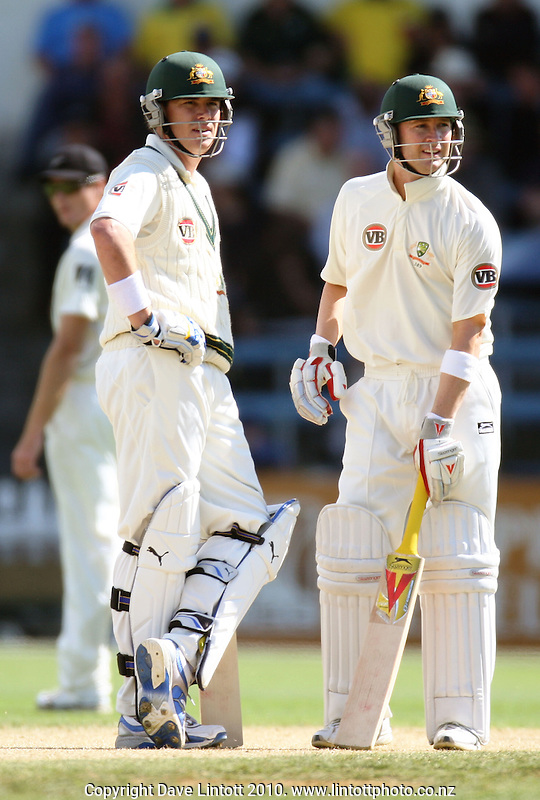 Australian batsmen Marcus North and Michael Clarke during day two of the 1st cricket test match between the New Zealand Black Caps v Australia, day two at the Basin Reserve, Wellington, New Zealand on Saturday, 20 March 2010. Photo: Dave Lintott / lintottphoto.co.nz