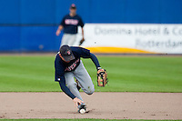 14 September 2009: Third base Christopher Falls of Great Britain reaches for the ball during the 2009 Baseball World Cup Group F second round match game won 15-5 by South Korea over Great Britain, in the Dutch city of Amsterdan, Netherlands.