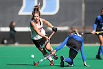 DURHAM, NC - NOVEMBER 11: Miami's Leonor Berlie (SUI) (left) and Duke's Margaux Paolino (right). The Duke University Blue Devils hosted the Miami University (Ohio) Redhawks on November 11, 2017 at Jack Katz Stadium in Durham, NC in an NCAA Division I Field Hockey Tournament First Round game. Duke won the game 4-2.