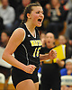 Wantagh No. 15 Jillian Graham reacts as she and her teammates close in on victory over Long Beach in the Nassau County varsity girls' volleyball Class A final at SUNY Old Westbury on Wednesday, Nov. 11, 2015. Wantagh won 3-0.<br /> <br /> James Escher