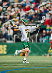 6 April 2019:  University of Vermont Catamount Attacker David Closterman, a Freshman from Doylestown, PA, celebrates a goal against the University at Albany Great Danes on Virtue Field in Burlington, Vermont. The Cats rallied to defeat the Danes 10-9 in America East divisional play. Mandatory Credit: Ed Wolfstein Photo *** RAW (NEF) Image File Available ***