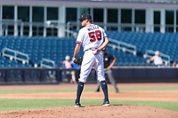 Peoria Javelinas starting pitcher Jeremy Walker (58), of the Atlanta Braves organization, looks in for the sign during an Arizona Fall League game against the Scottsdale Scorpions at Peoria Sports Complex on October 18, 2018 in Peoria, Arizona. Scottsdale defeated Peoria 8-0. (Zachary Lucy/Four Seam Images)
