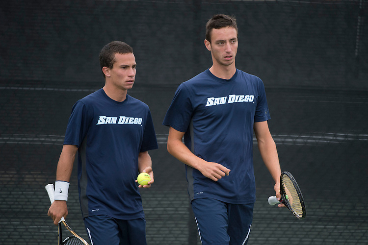 April 25, 2014; San Diego, CA, USA; San Diego Toreros player Uros Petronijevic (left) and Romain Kalaydjian (right) during the WCC Tennis Championships at Barnes Tennis Center.