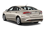 Car pictures of rear three quarter view of a 2018 Ford Fusion Hybrid SE 4 Door Sedan angular rear